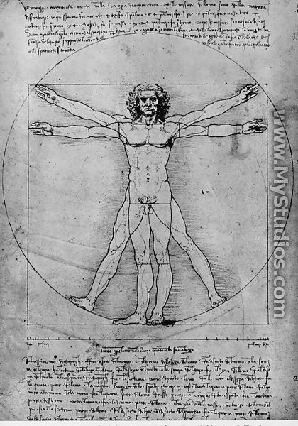 Vitruvian Man, Study of proportions, from Vitruvius