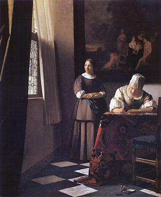 Vermeer- Lady Writing a Letter with Her Maid